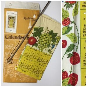 Vintage 1980 Calendar Towel w/ Hanging Rod - 29x16